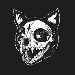 skull cat cute illustration vector
