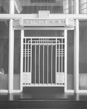 Cincinnati Union Terminal, ticket booth, constructed in 1933, partially demolished in 1974, Cincinnati, Ohio, photograph circa early 1970s