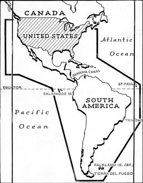 Map of the Panama Canal, showing the alternate route around the tip of South America, circa 1930s