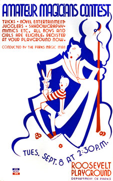 Poster announcing contest for amateur magicians at Roosevelt Playground, conducted by the Parks magic man, showing a magician performing a trick with a rabbit, and a boy, WPA Federal Art Project, 1936