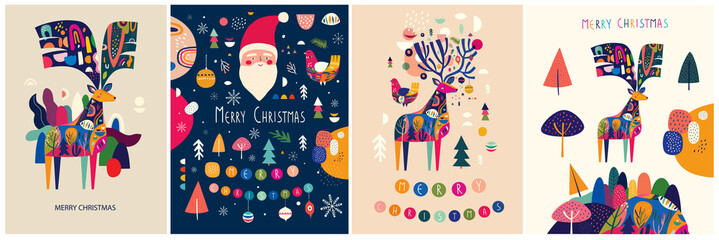 Fotomurales - Christmas decorative illustrations with colorful deer and funny Santa Claus.