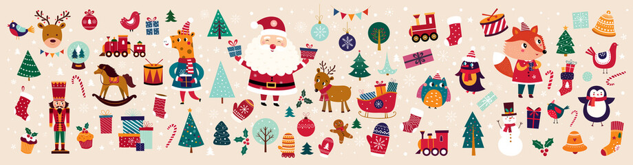 Christmas decorative banner with funny Santa Claus, nutcracker, locomotive and gift boxes and many others. Papier Peint