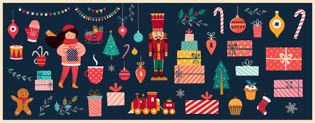 Fotomurales - Christmas decorative banner with Santa Claus, nutcracker, locomotive, girls, gingerbread and gift boxes in vintage style