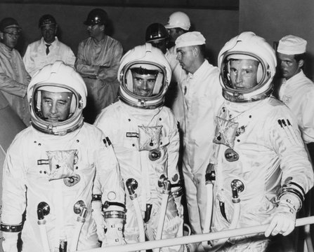 The crew of the first manned Apollo space flight, in training for the Apollo Saturn As-204 mission
