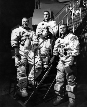 The crew for the Apollo 8 spacecraft L-r: James A. Lovell Jr., William A. Anders, Frank Borman