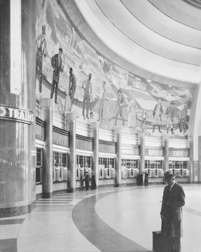Cincinnati Union Terminal, mural and ticket booths, constructed in 1933, partially demolished in 1974, Cincinnati, Ohio, photograph circa early 1970s
