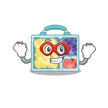 lunch box isolated with super hero the mascot