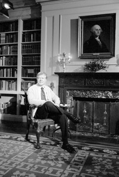 Jimmy Carter sports a cardigan in the White House library during a televised fireside chat (Address to the Nation on Energy)