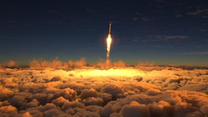 Rocket flies through the clouds on sunset