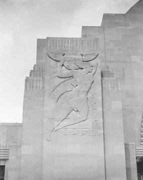 Cincinnati Union Terminal, South bas relief, constructed in 1933, partially demolished in 1974, Cincinnati, Ohio, photograph circa early 1970s