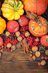 Bright fall backround concept. orange pumpkins, apples, berries and nuts on rustic wooden background. autumn harvest season background. top view, copy space