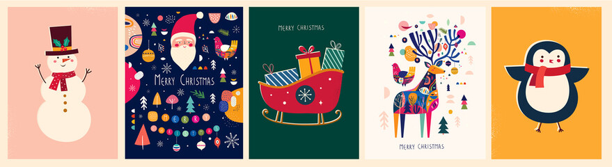 Fotomurales - Christmas banner with snowman, sleigh, deer, penguin and Christmas toys in vintage style