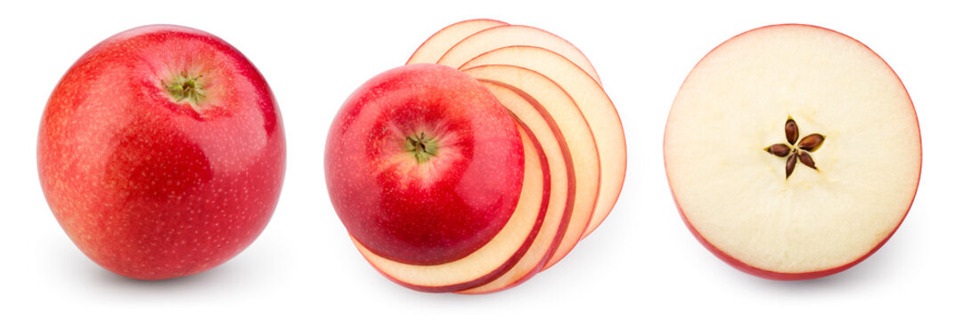 Red apple isolate. Apples on white background. Apple slice. Set with clipping path.