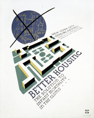 Poster promoting better housing as a solution for high rates of infant mortality in the slums, showing a planned housing community and in the background a crossed-out telescopic view of tenement housing, text reads: 'Better housing The solution to infant