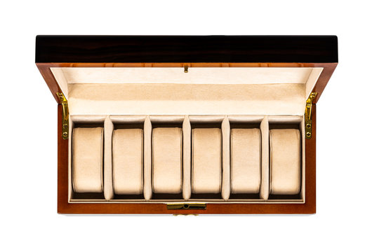 Empty brown wooden luxury jewelry watch case box with open lid and padded inside on white background. Top view from above.