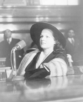 Virginia Hill, girlfriend of Las Vegas mobster Ben 'Bugsy' Siegel,' testifies before the Kefauver organized crime hearings in New York in February 1951