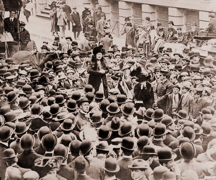 Mrs. Harriot Stanton Blatch (1856-1940), exhorted the Wall Street crowds as she took the women's