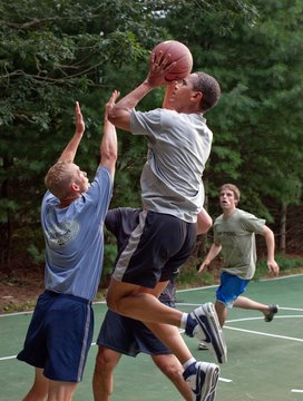 President Barack Obama plays basketball with White House staffers while on vacation on Martha's Vineyard Aug. 26 2009
