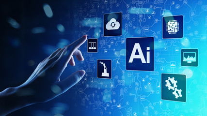 AI Artificial intelligence, Machine learning, Big data analysis and automation technology in business and industrial manufacturing concept on virtual screen. Wall mural