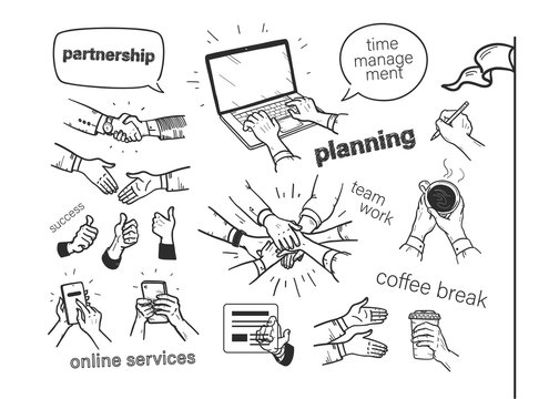 Set of hand drawn business concepts: planning, time management, teamwork, online service. Hand drawn human hands, mobile phone, laptop, coffee cup isolated on white background. Vector illustration.