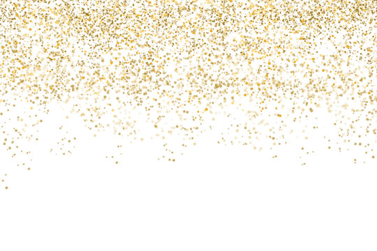 Golden confetti isolated on white background (clipping path) with bright festive tinsel of gold color for Christmas, new year, birthday party and greeting card decoration