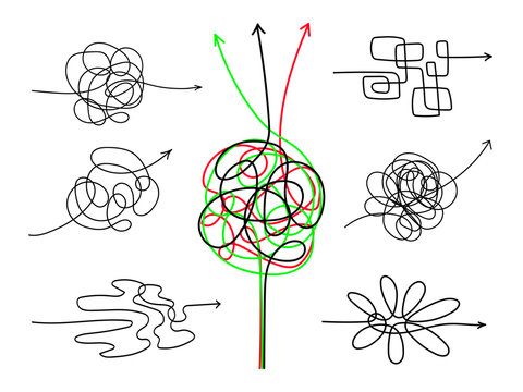 Confusing difficult arrows. Tangle scribbles with arrow, simple lines knot designs, chaos tangled drawing wires or messy scribble threads isolated on white background, vector illustration