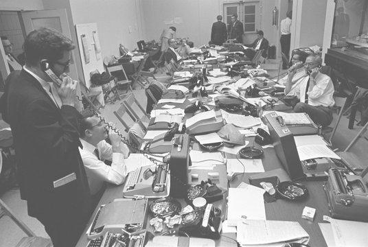 White House Press Room during President Lyndon Johnson's gall bladder surgery