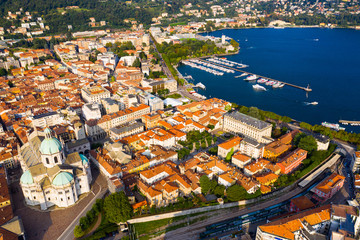 Panoramic view from the drone on the city Como. Italy