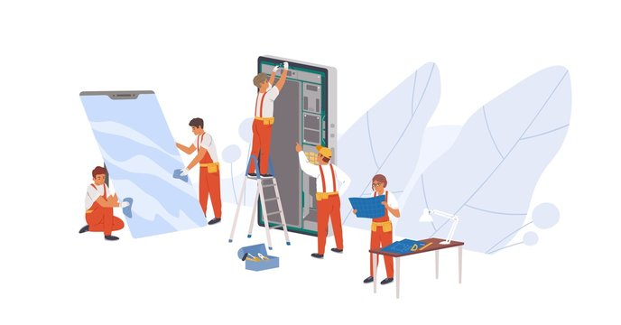 Smartphone repair flat vector illustration. Repairman service workers, appliance repairers cartoon characters. Electronic device reconditioning. Mobile phone parts replacement concept.