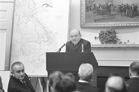 Secretary of State Dean Rusk briefs US Governors on the Vietnam War