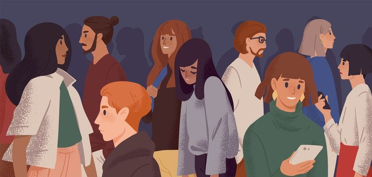Sad girl in crowd flat vector illustration. Emotional burnout, depression and fatigue concept. Young overworked woman feeling exhausted cartoon character. Psychological disorder, apathy idea.