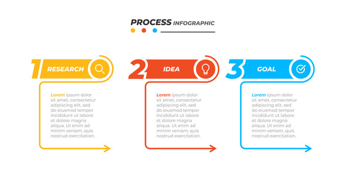 Business process. Vector design elements with marketing icons and 3 options, steps, arrows. Can be used for workflow diagram, info chart, graph, presentations.