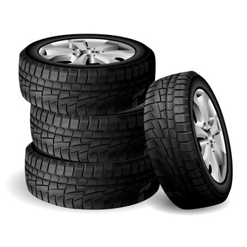 Winter rubber stack. Tyre repair shop. Auto wheel vector illustration. Realistic Automobile tire 3d render with rim. Cold snow worn and protect. New quality tyres side view for truck or suv