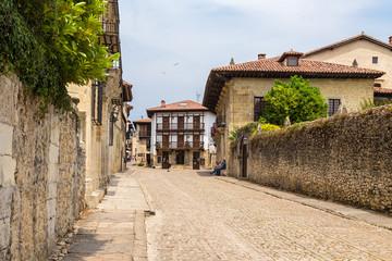 Santillana del Mar, Spain. View old street Juan Infante