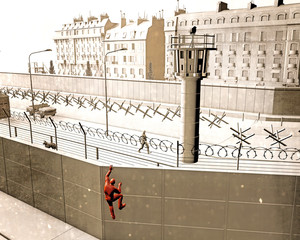 The Berlin Wall was a guarded concrete barrier that physically divided Berlin from 1961 to 1989. The barrier included guard towers militarized. Escape attempt with tunnel and by climbing the wall