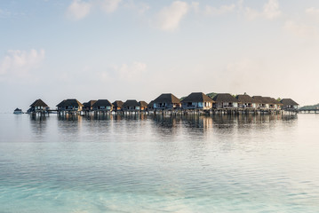 Tropical island with Water-Bungalows on the Maldives