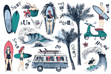 Set of hand drawn surfing icons
