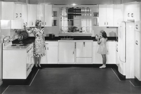 Modern electric kitchen with a stove and refrigerator. An electric dishwasher is to right