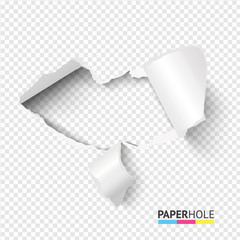 Empty tear cardboard heart shape hole with bent pieces on transparent background for valentines day poster. Blank torn edge paper hole banner for love, kiss, heart ect. concepts.