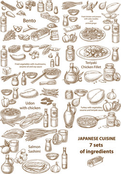 Creative conceptual vector set. Sketch hand drawn Japanese food recipe illustration, engraving, ink, line art, vector.