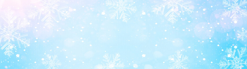 snowflakes and ice crystals isolated on blue sky - winter background panorama banner long Fototapete