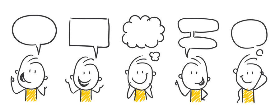 Strichfiguren / Strichmännchen: Kommunikation, Sprechblasen. (Nr. 450)