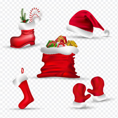 Santa clothes like as gloves, sock, hat, boot and gift sack on png background.