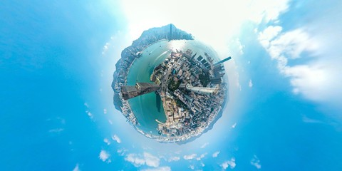 Fototapete - Panoramic aerial view of Hong Kong City
