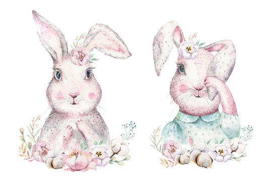 Hand drawing easter watercolor cartoon bunnies with leaves, branches and feathers. indigo Watercolour rabbit holiday illustration in vintage boho style. bunny card.