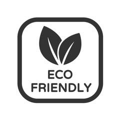 Eco friendly vector icon. Organic, bio, eco symbol. Eco product stock vector illustration with leaves for printing on food packaging