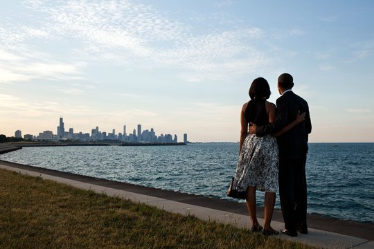 President Barack and Michelle Obama look at the Chicago skyline, June 15, 2012