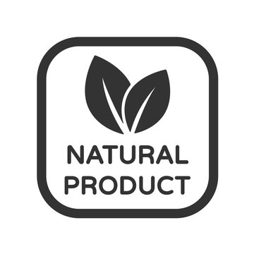 Natural product vector icon. Organic, bio, eco symbol. Natural product stock vector illustration with leaves for printing on food packaging