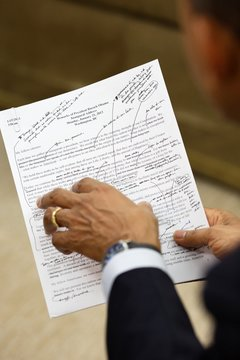 President Barack Obama works on his inaugural address with Jon Favreau, Dir