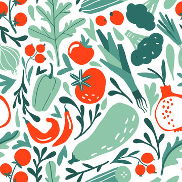 Seamless pattern with hand drawn red and green fruits, berries, vegetables